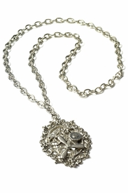 Steampunk Silver Gear Necklace - click to enlarge