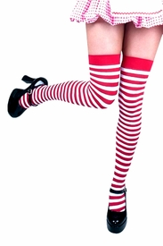 Striped Thigh-Highs - Red & White - click to enlarge