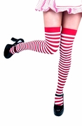 Striped Thigh-Highs - Red & White