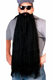 Super Long Black Beard and Mustache Combo - click to enlarge