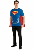 Superman Man of Steel Adult Shirt and Removable Cape