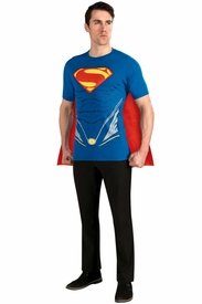 Superman Man of Steel Adult Shirt and Removable Cape - click to enlarge