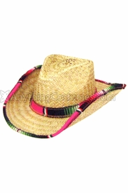 Western Straw Serape Mexican Cowboy Hat - click to enlarge