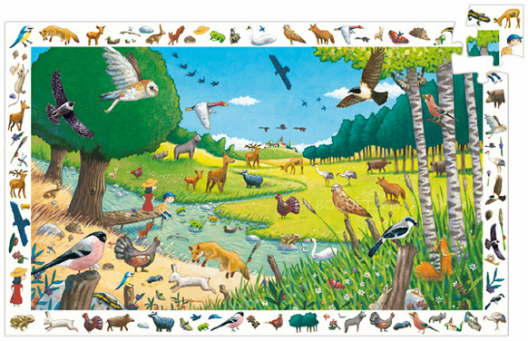 Djeco - Walk in the Forest - Observation Puzzle & Poster