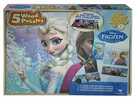 Frozen - 5 Wood Puzzles with Storage Box