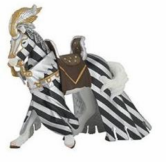 Papo - Draped Tourn Horse - Silver and Black