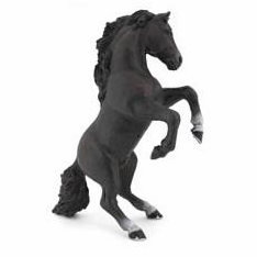Papo - Reared-Up Horse - Black - New Style