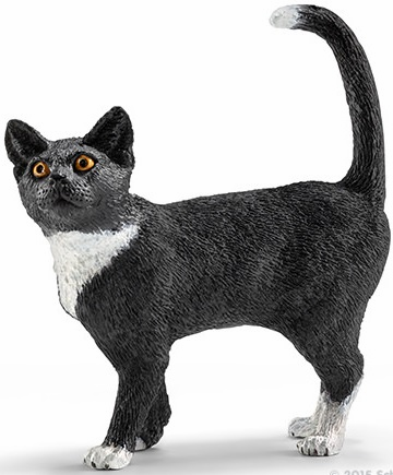 Schleich - Cat - Standing - Black