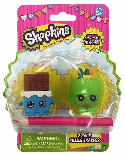 Shopkins - 2 Pack Puzzle Erasers - Blue and Green