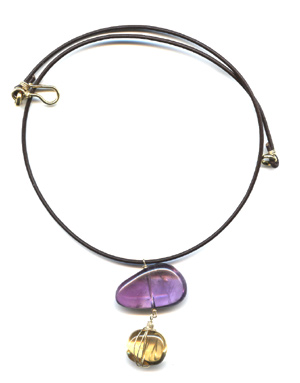 "Amethyst and Citrine ""Stone Age"" Necklace"