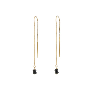 Black Spinel Threader Earrings