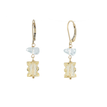 California Girl Aquamarine and Citrine Earrings