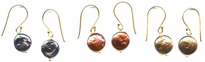 Coin Pearl Earrings (3 colors)
