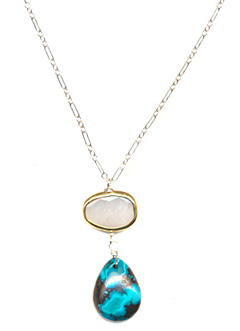 Cream and Turquoise Necklace