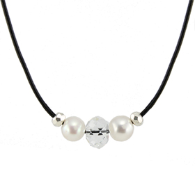 Crystal n Leather Necklace