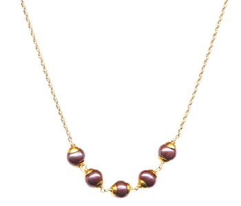 Cupped Pearl Necklace, Pink