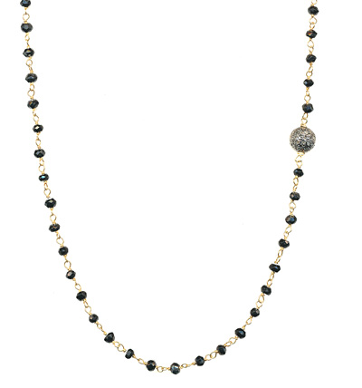 Diamond Bead Black Spinel Necklace