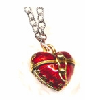 Firey Enamel Heart Necklace