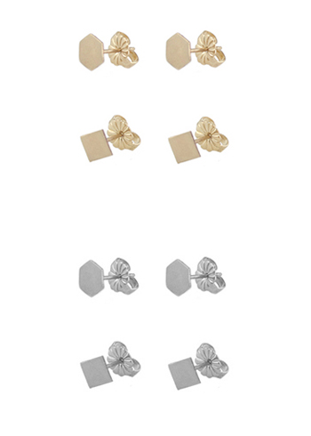Flat Shape Stud Earrings