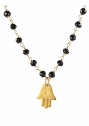 Gemstone Hamsa Diamond Necklace