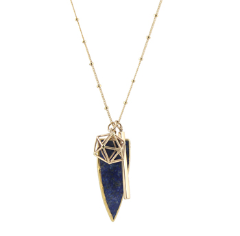Globe Charms Necklace with Lapis