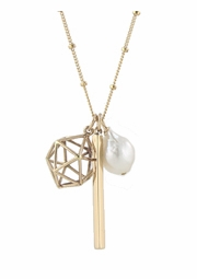 Globe Charms Necklace with Pearl