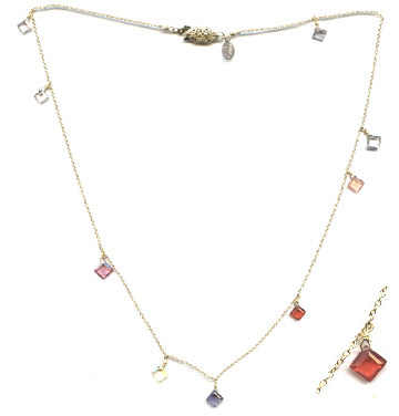 Harlequin Sapphire and 14k Gold Necklace