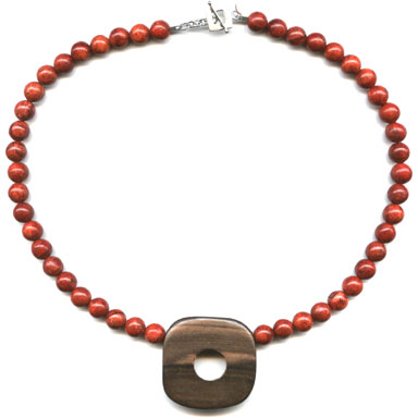 Holey Moley Coral and Wood Necklace