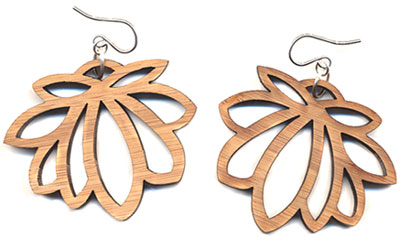 Large Laser Cut Lotus Earrings