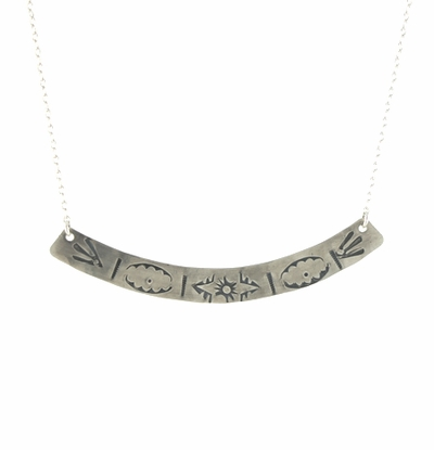 Large Stamped Arc Necklace