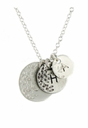Leaf Stamped Initial Necklace, SS