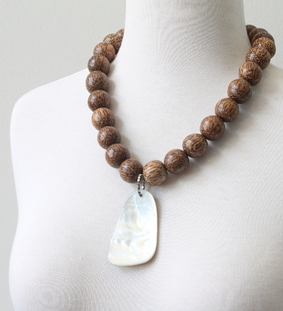 Mother of Pearl and Wood Jumbo Necklace