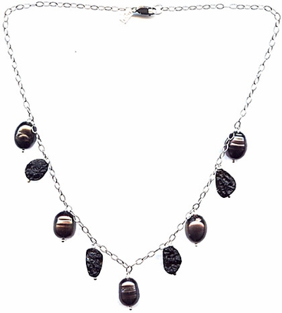 Pearl and Black Necklace