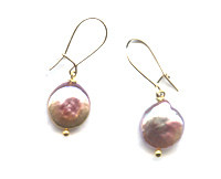 "Pink Pearl Earrings ""Pink Dot"""