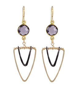 Gemstone Vee Earrings