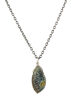 Pyrite Drusy Pendant Necklace