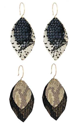 Recycled Leather Leaf Earrings (2 colors)