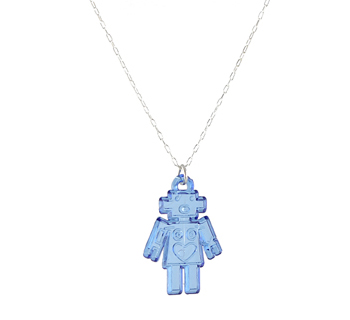 Retro Robot Charm Necklace