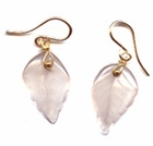 Rose Quartz Leaf Earrings -- NA