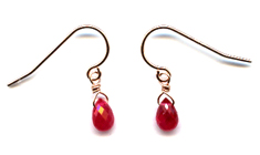 Ruby and 14k Rose Gold Earrings -- NA