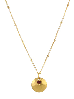 Ruby Disk Necklace