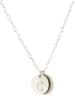 Silver Hammered Large Initial Necklace