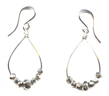 Silver Nugget Hoop Earrings