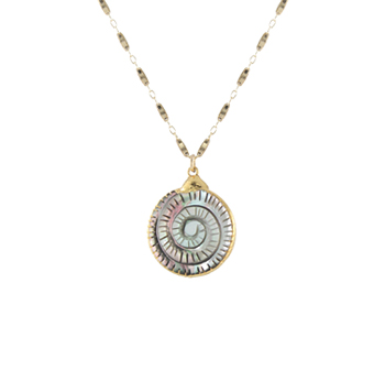 Smoky Mother of Pearl Fern Necklace