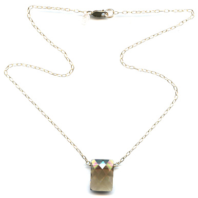 Smoky Topaz Square Necklace
