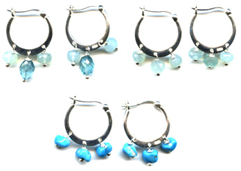 Sterling Hoop Earrings with Chalcedony, Turquoise, Apatite -- NA