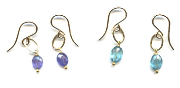 Tanzanite and Apatite Oval Earrings