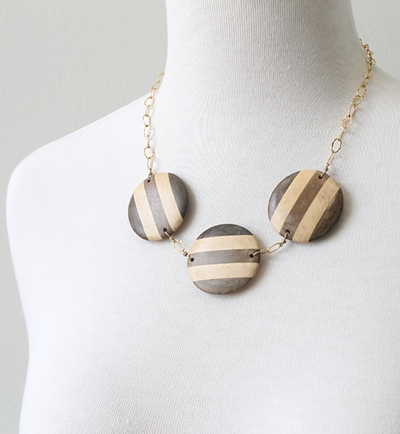 French Stripe Wood Necklace