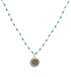 Tiny Beaded Om Necklace