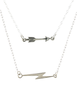 Tiny Lightning Bolt or Arrow Necklace